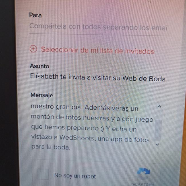 Help me!como enviar la web de boda por whatssap?? 6