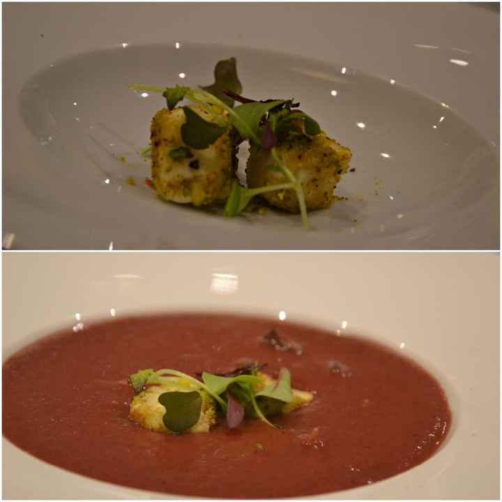 Gazpacho de cereza con nubes de queso de cabra y pistacho con emulsión de albahaca