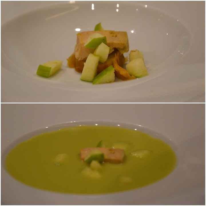 Tatín de foie y gazpacho de manzana verde