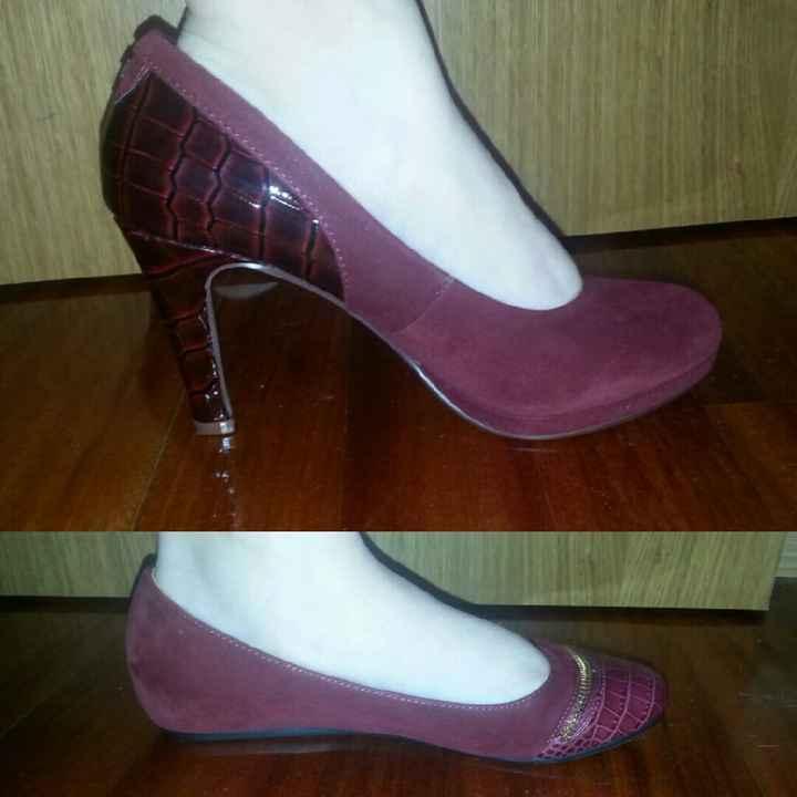 Busco zapatos de novia color granate - 1