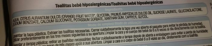 Ingredientes toallitas