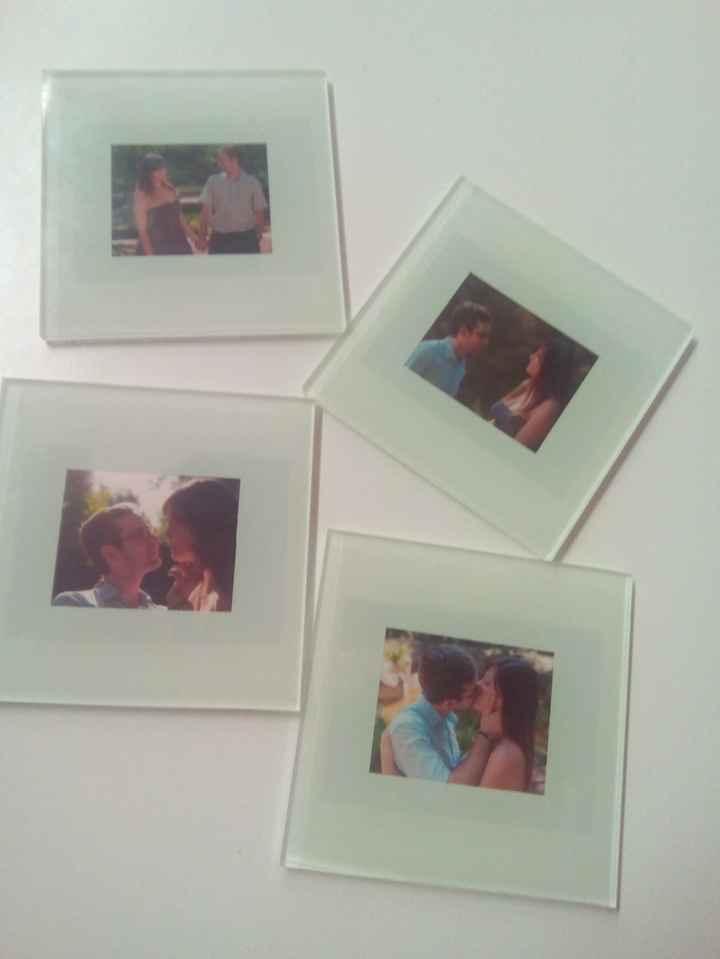 Posavasos personalizados con fotos de la Preboda, detallito para nuestros padres