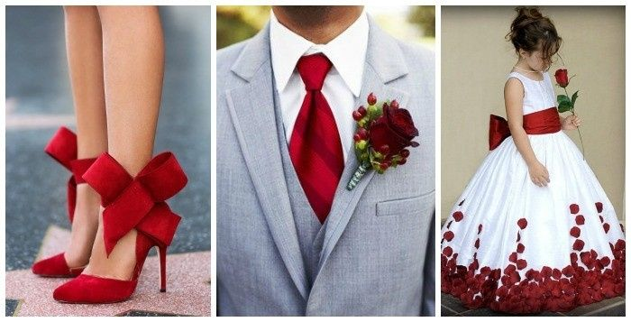 Complementos para bodas con toques rojo.