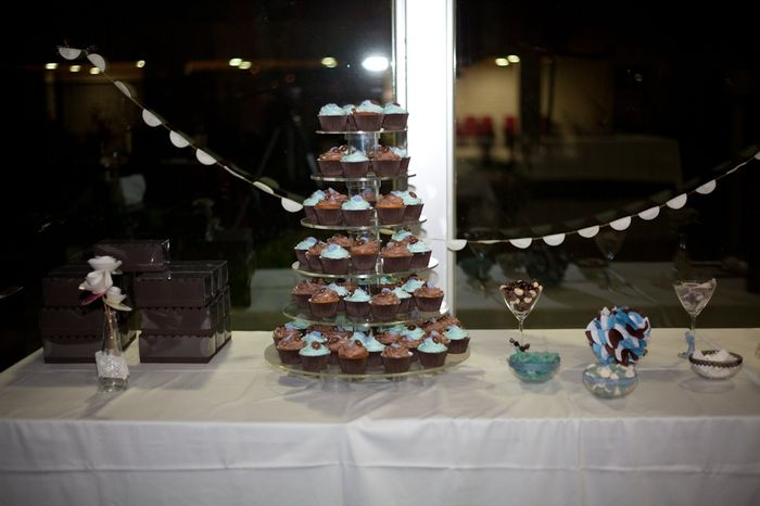 mesa dulces con torre cupcakes