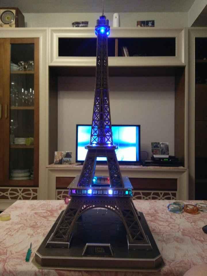 Mi adquisición para el candy bar: puzzle 3d con luces led de la torre eiffel - 1