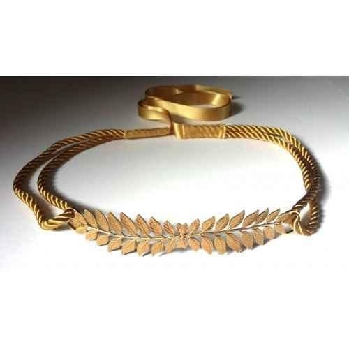 cinturón dorado hojas hecho a mano