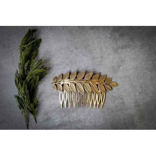 peineta dorada hojas hecha a mano