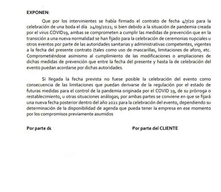 Nueva clausula en el contrato del catering - 1