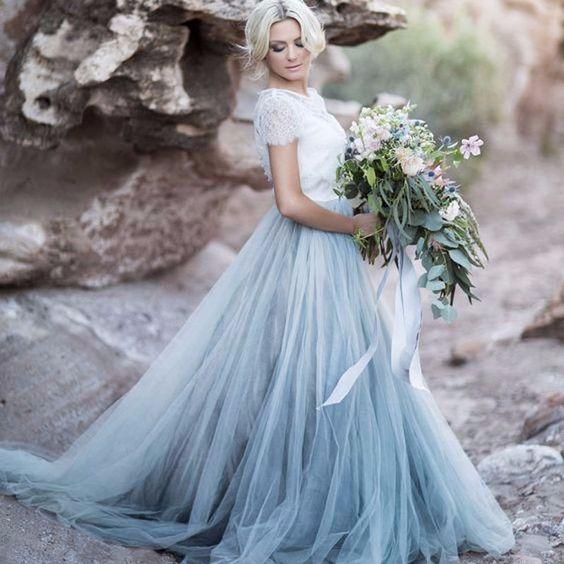 Vestidos de novia con falda de tul... ¡de color! 2