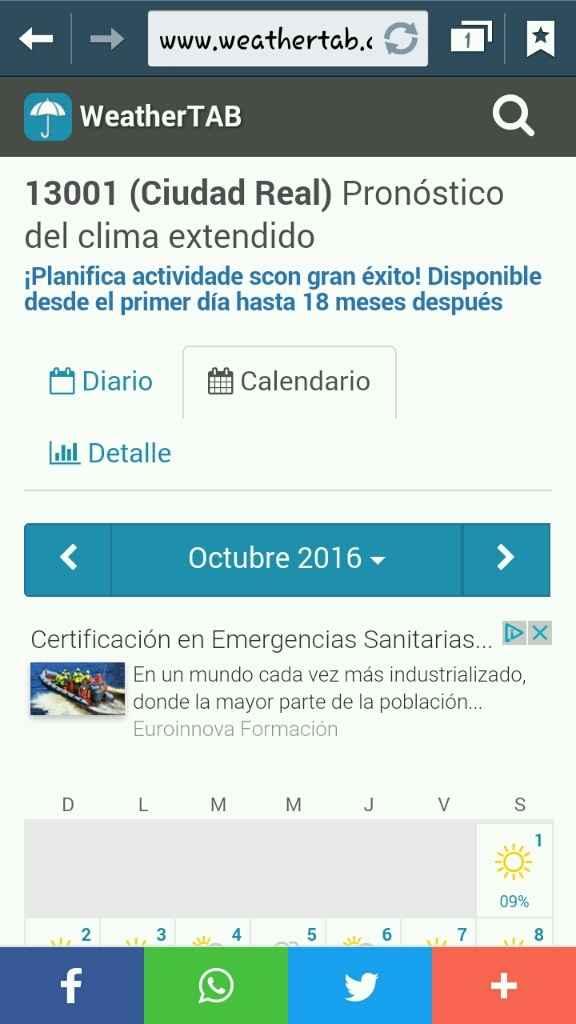 Climatologia 15 octubre 2016 - 2