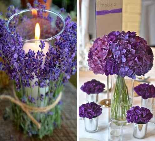 9. Velas y flores lilas