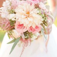 Flores rosas (begonias?) y ramitos