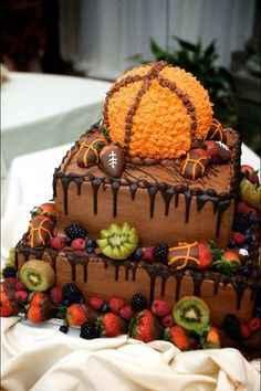 tarta con pelota baloncesto