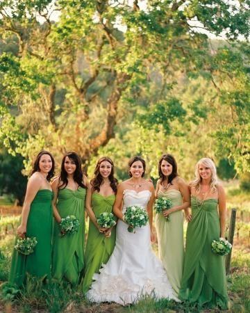 novias con damas de honor ?vestido verdes - moda nupcial - foro