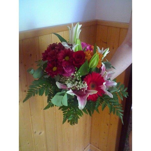 Ramo de liliums, gerberas, rosas y paniculata