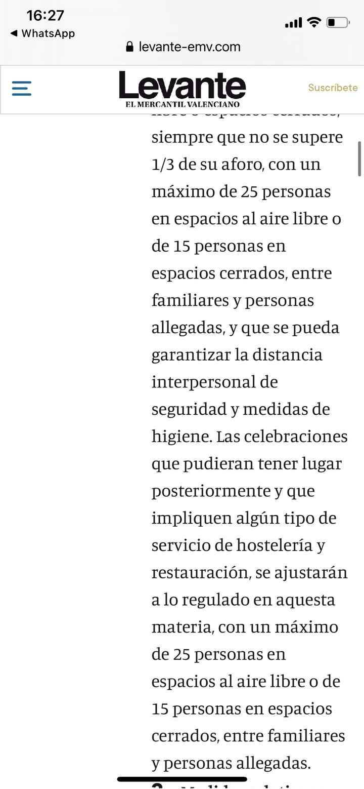 Nueva normativa comunidad valenciana- Bodas - 2