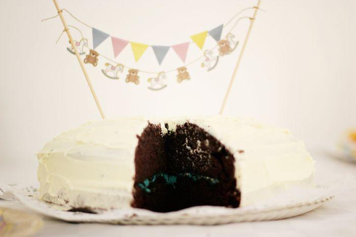 La tarta con relleno azul