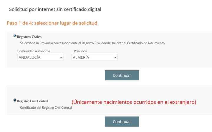Solicitud por internet sin certificado digital