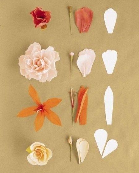 Varias Preciosas Flores De Papel Crepé Con Plantilla Manualidades
