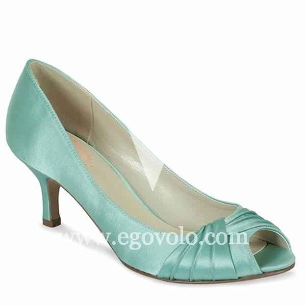 Zapatos poco tacón aguamarina