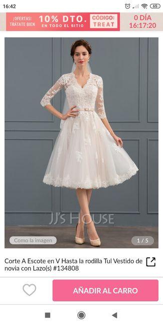 Vestido corto novia talla 48 - 1