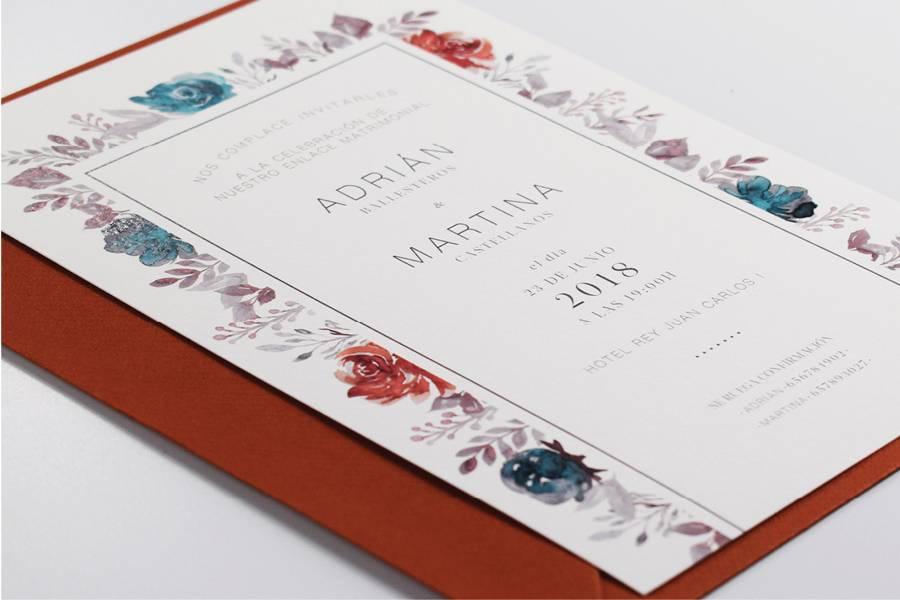 Invitación recuadro floral
