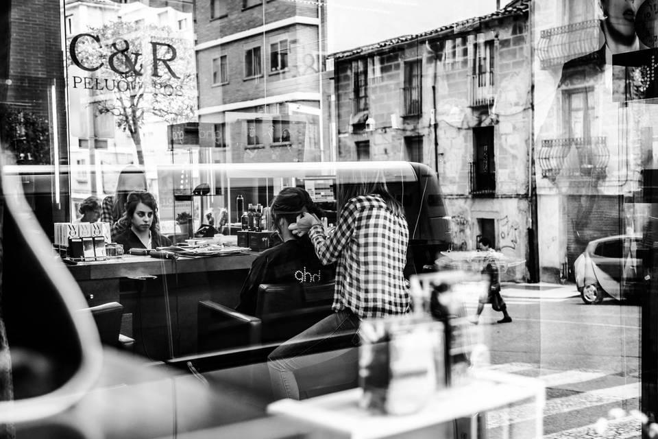Fotógrafos en la peluquería