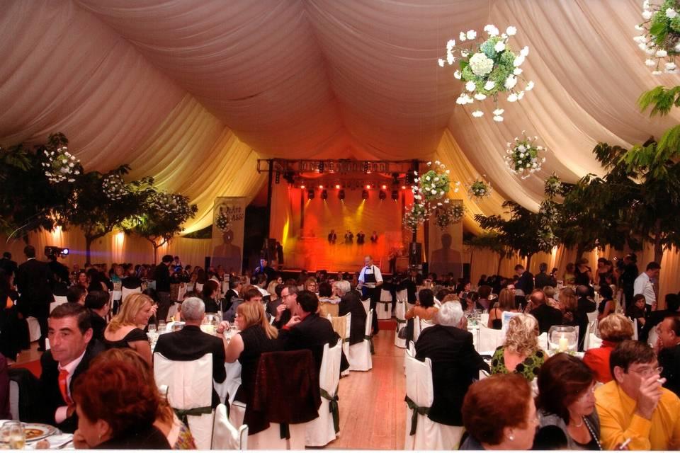 Carpa poligona con baile, telas decorativas, lámparas florales.