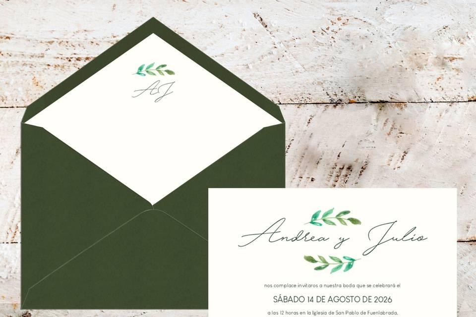 Invitación + sobre verde