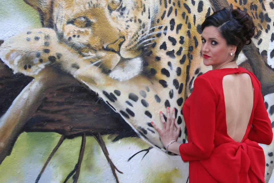 Vestido en crep rojo