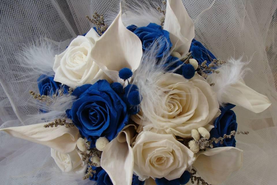 Ramo de novia de rosas y calas