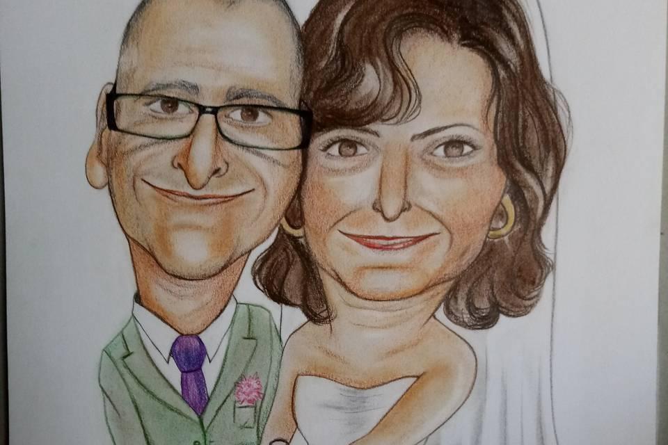 Caricatura de boda de pareja