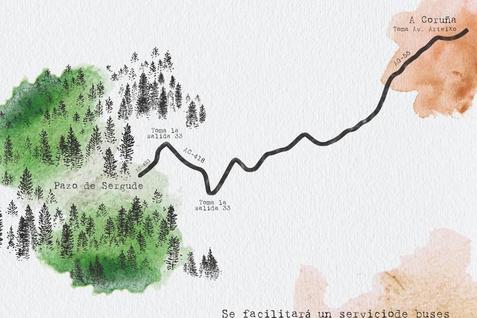 Invitación con mapa