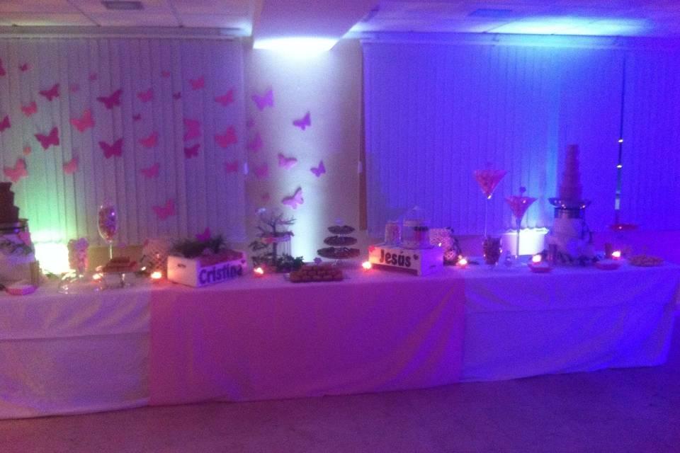 Fuentes y mesa dulce