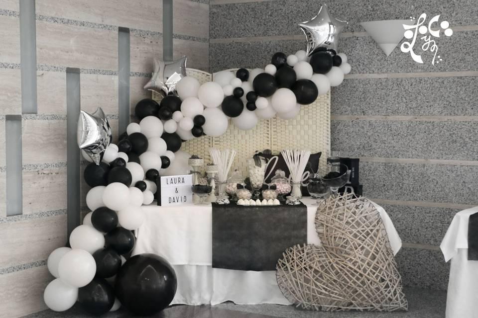 Decoración con globos candybar
