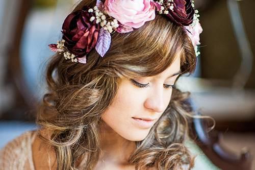 Corona de flores satín de seda