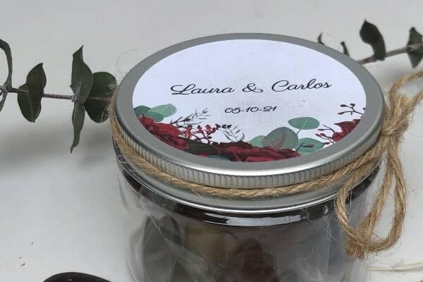 Tarro de chocolates peonia