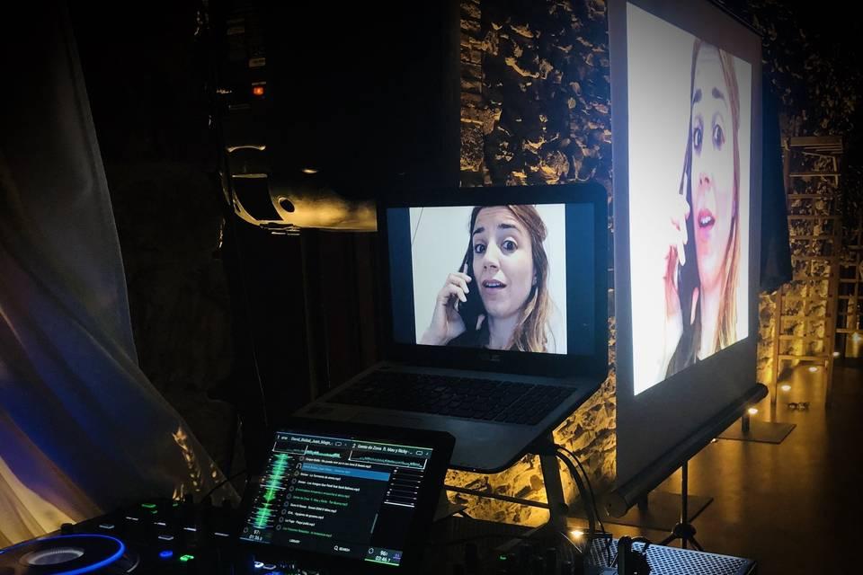 DJ y proyección de vídeo