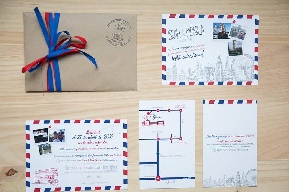 Invitaciones de boda de postal