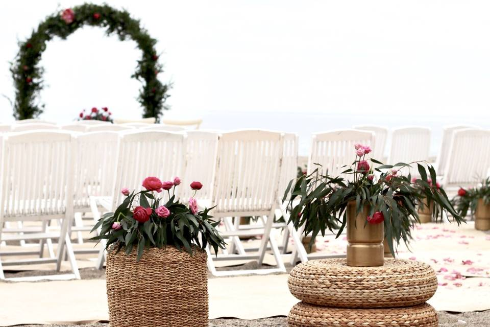 Detalle ceremonia en la playa