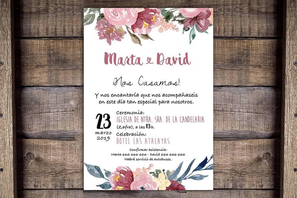 Invitación flores acuarela