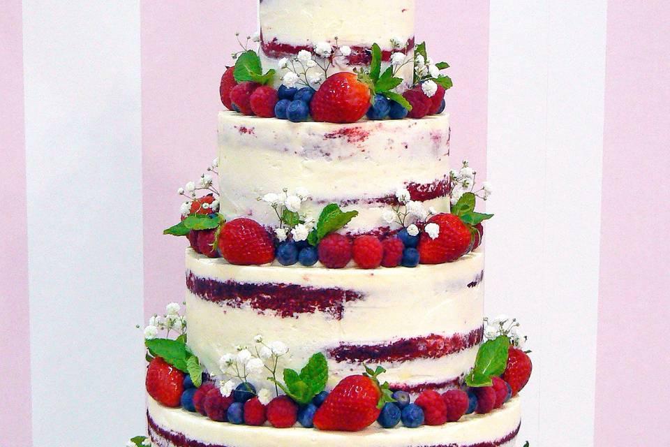Tarta de boda naked con frutos