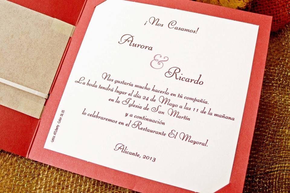 Invitación en rojo