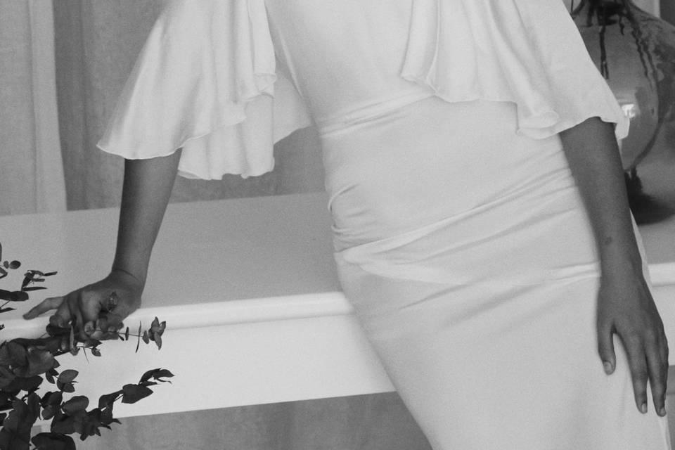 Vestido de satén blanco